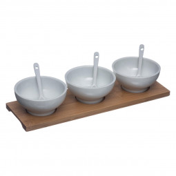 Set apéritif de 3 bols + cuillères sur plateau bambou