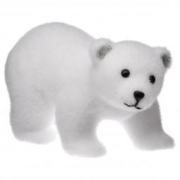 Décoration de Noël Ours sur ses 4 pattes floqué blanc 21 cm Sous son blanc manteau