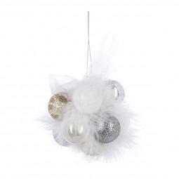 Décoration Fleur Grappe de Noël 11 Boules avec plumes blanches Collection Sarah B.