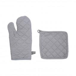 Ensemble Gant de cuisine et manique en coton gris clair