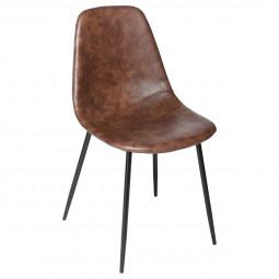 Chaise de table Marron effet cuir vieilli et pieds en métal noir