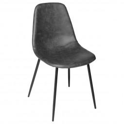 Chaise de table Grise effet cuir vieilli et pieds en métal noir