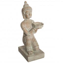 Bouddha blanchi en résine H 43 cm