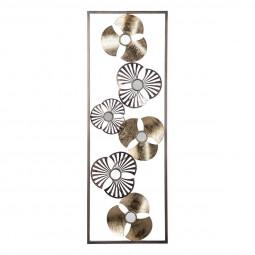 Décoration murale métal fleur or H89