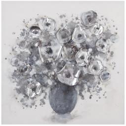Toile PEI bouquet gris 58X58