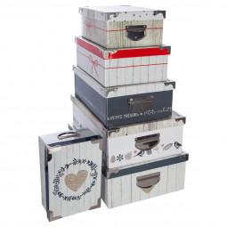 Lot 6 Boîtes Rectangles Coins et Poignées en métal collection Comptoir de Noël