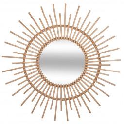 Miroir en rotin soleil D 76 cm coloris naturel