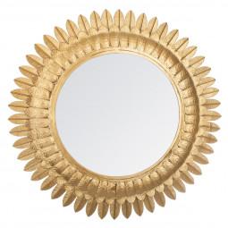 Miroir métal feuilles or D70