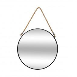 Miroir rond en métal noir avec corde D37 cm