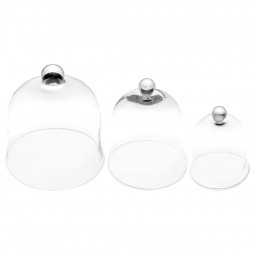 Lot de 3 cloches verre transparent