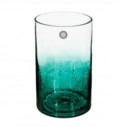 Vase cylindrique verre craquelé H20