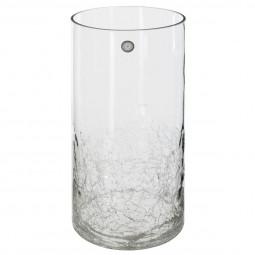 Vase cylindrique verre craquelé H30