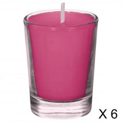 Lot de 6 bougies parfumées framboise 22G