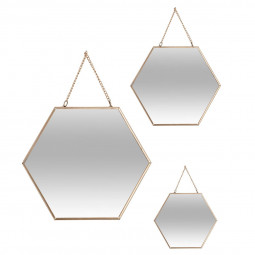 Lot de 3 miroirs hexagonales or