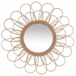 Miroir fleur en rotin D56