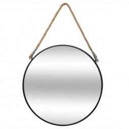 Miroir Rond en métal  Noir avec corde D 55 cm