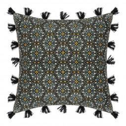 Housse de Coussin Rosace et pompons 40 x 40 cm