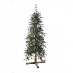 Sapin de Noël artificiel Vert Pomme de Pin et Pied en Bois H 100 cm collection Foxtail