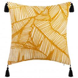 Housse de Coussin Tropiques et pompons  40 x 40 cm