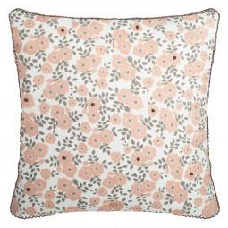 Housse de Coussin Fleur et Perles 40 x 40 cm