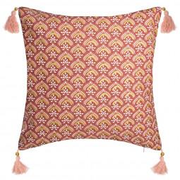 Housse de Coussin Hindou Or et pompoms 40 x 40 cm