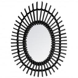 Miroir rotin ovale noir