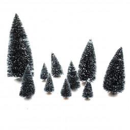 Accessoires pour Village de Noël Set 10 Sapins de Noël miniatures