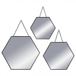 Lot de 3 miroirs hexagonaux métal