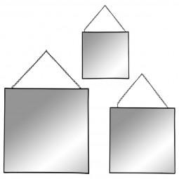 Lot de 3 miroirs carrés en métal