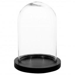 Cloche verre socle en bois H26
