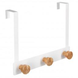 Patère de porte 3 têtes bambou blanc