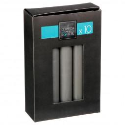 Lot de 10 bâtons de bougies gris 45G