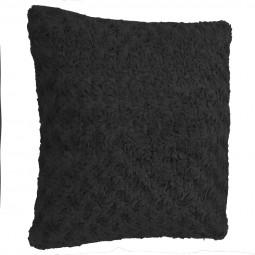 Coussin noir fourrure boucles 45 x 45 cm