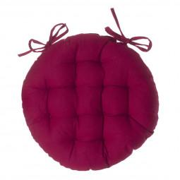 Galette de chaise ronde rouge D40 cm