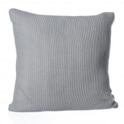 Coussin tricot gris clair 40 x 40 cm