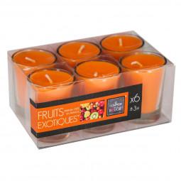 Lot de 6 bougies parfumées fruits exotiques 22G