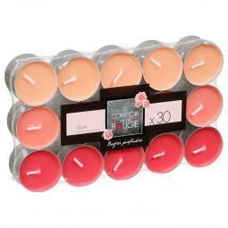 Lot de 30 bougies parfumées rose