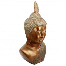 Grande Tête de Bouddha couleur cuivre H 113 cm