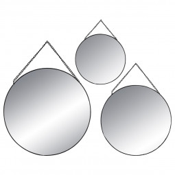 Lot de 3 miroirs ronds en métal