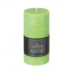 Bougie rustique cylindrique vert H14