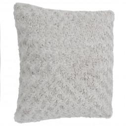 Coussin déhoussable foururre bouclée gris clair 45x45