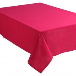 Nappe anti-tâche unie rose en coton 140x240 cm