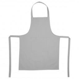 Tablier gris clair 1 poche en coton 60X80