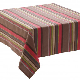 Nappe taupe rayures 150x150 cm