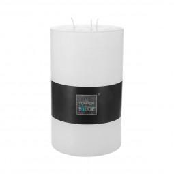 Bougie cylindrique rustique blanc H23
