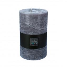 Bougie cylindrique rustique gris H23