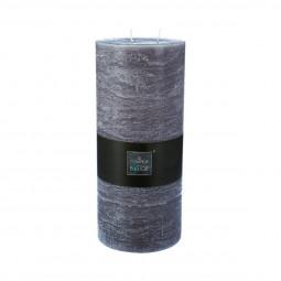 Bougie cylindrique rustique gris H32