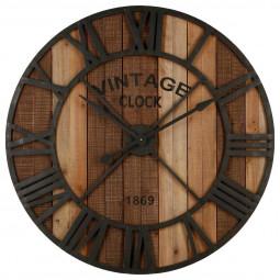 """Pendule Vintage marron en métal & bois D91 """"Factory"""""""