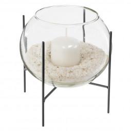 Photophore en verre sur trépied avec bougie et  sable D15