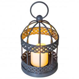 Lanterne cage en métal avec LED fonctionne à pile